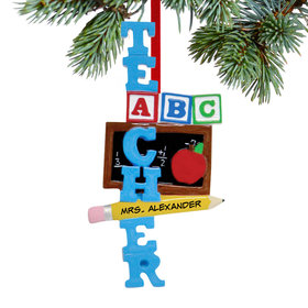 Personalized Teacher ABC Christmas Ornament