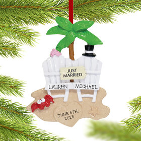 Personalized Beach Wedding Christmas Ornament