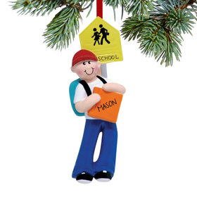 Personalized School Boy Christmas Ornament