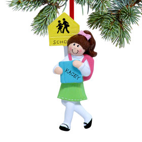 Personalized School Girl Christmas Ornament