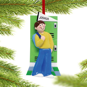 Personalized Teen Boy at His Locker Christmas Ornament