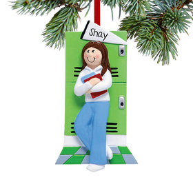 Personalized Teen Girl at Her Locker Christmas Ornament