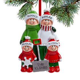 Personalized Snow Shovel Family of 4 (Red and Green) Christmas Ornament