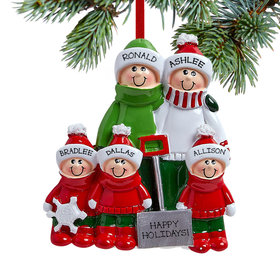 Personalized Snow Shovel Family of 5 (Red and Green) Christmas Ornament