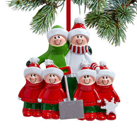 Snow Shovel Family of 6 (Red and Green) Christmas Ornament