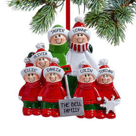 Personalized Snow Shovel Family of 7 (Red and Green) Christmas Ornament