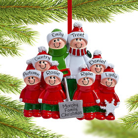 Personalized Snow Shovel Family of 8 (Red and Green) Christmas Ornament