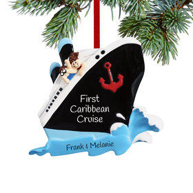 Personalized Couple on a Cruise Ship Christmas Ornament