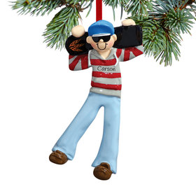 Personalized Boy with Skateboard Christmas Ornament