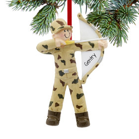 Personalized Bow and Arrow Hunter Christmas Ornament
