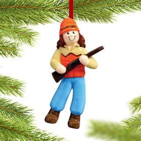Personalized Female Hunter Wearing Orange Vest Christmas Ornament