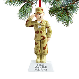 Personalized Army Male Christmas Ornament