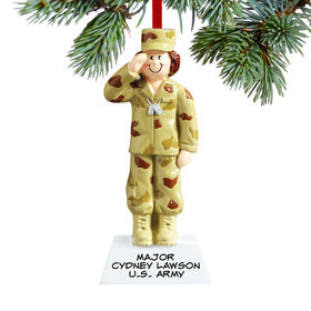 Personalized Army Female Christmas Ornament