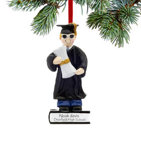 Personalized Graduate Boy on a Stack of Books Holding a Diploma Christmas Ornament