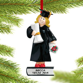 Personalized Graduate Girl on a Stack of Books Holding a Diploma Christmas Ornament