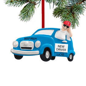 Personalized New Driver Boy Christmas Ornament