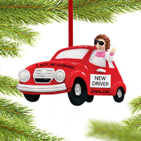 Personalized New Driver Girl Christmas Ornament