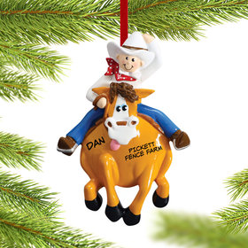 Personalized Cowboy on a Horse Christmas Ornament