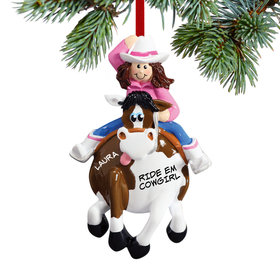 Personalized Cowgirl on a Horse Christmas Ornament