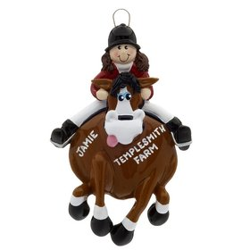 Personalized English Rider on a Brown Horse Christmas Ornament