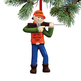 Personalized Hunter in Shooting Stance Christmas Ornament