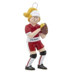 Personalized Softball Girl with Ball in Glove Christmas Ornament
