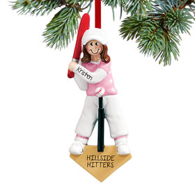 Personalized T-Ball Girl Christmas Ornament