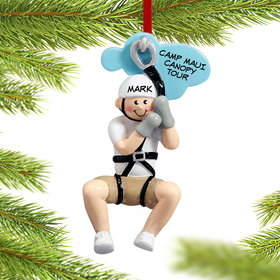 Personalized Zipline Male Christmas Ornament