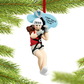 Personalized Zipline Female Christmas Ornament