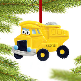 Personalized Dump Truck with Eyes Christmas Ornament