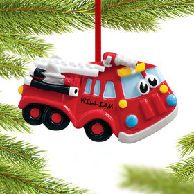 Personalized Fire Engine with Eyes Christmas Ornament
