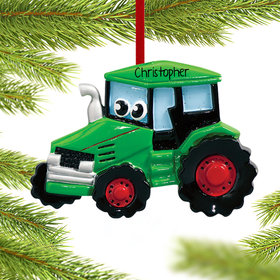 Personalized Tractor with Eyes Christmas Ornament