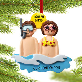 Personalized Day at the Beach Couple Christmas Ornament