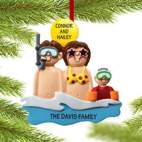 Personalized Day at the Beach Family of 3 Christmas Ornament