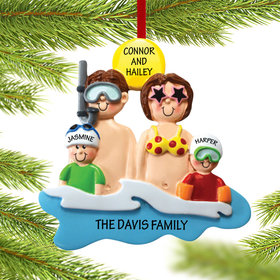 Personalized Day at the Beach Family of 4 Christmas Ornament