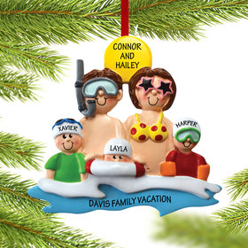 Personalized Day at the Beach Family of 5 Christmas Ornament