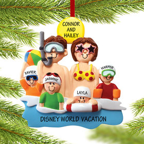 Personalized Day at the Beach Family of 6 Christmas Ornament