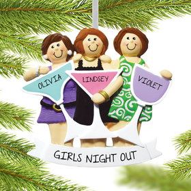 Personalized Girls Night Out (Three Friends) Christmas Ornament