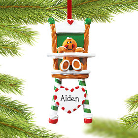 Personalized Gingerbread Child in Highchair Christmas Ornament