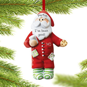 Personalized Santa in Pajamas with Milk & Cookie Christmas Ornament