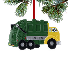 Personalized Garbage Truck with Eyes Christmas Ornament