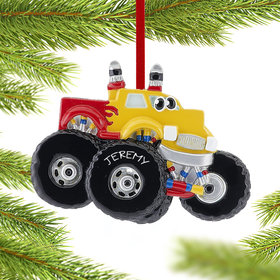 Personalized Monster Truck with Eyes Christmas Ornament