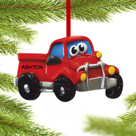 Personalized Pickup Truck with Eyes Christmas Ornament