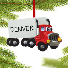 Personalized Semi Truck with Eyes Christmas Ornament