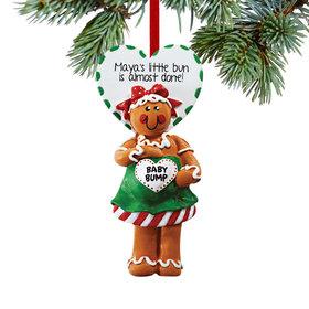 Personalized Expecting Gingerbread with Baby Bump Christmas Ornament