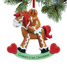 Personalized Gingerbread Child on Rocking Horse Christmas Ornament