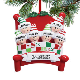 Personalized Bed Family 6 Christmas Ornament