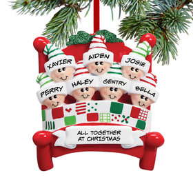 Personalized Bed Family 7 Christmas Ornament