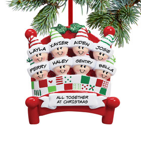 Personalized Bed Family 8 Christmas Ornament