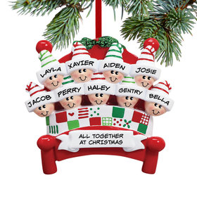 Personalized Bed Family 9 Christmas Ornament